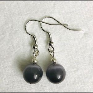 Handcrafted Earrings Grey & silver colored hooks